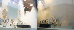 mistgenerator in de winkel die juwelen aan het zicht ontneemt.